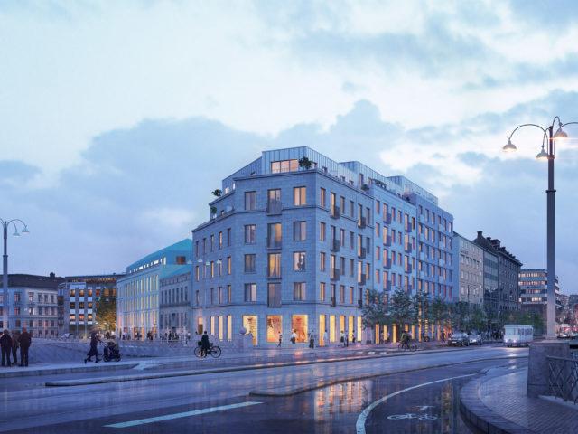 Järntorgsgatan x Brogatan exteriör kvällstid