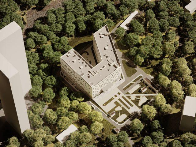 modell av en byggnad helikoptervy